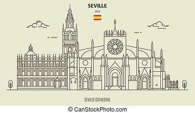 kathedrale, spain., grenzstein, sevilla, ikone