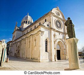 kathedrale, von, st james, in, sibenik