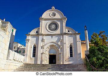 kathedrale, von, st james, in, sibenik, fassade