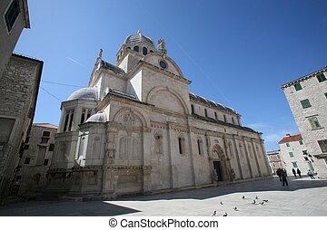 kathedrale, von, st. james, in, sibenik