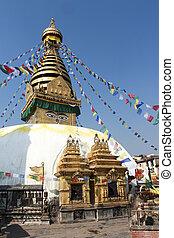 kathmandu , λουλούδια , σημαίες , stupa , bodnat