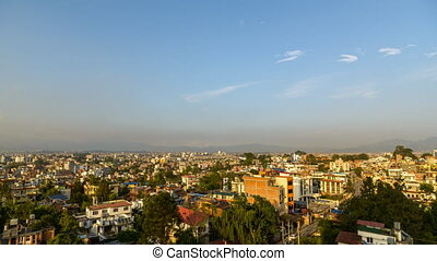 Kathmandu day to night time lapse from Sanepa in Patan, Nepal.