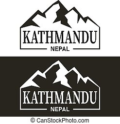 Kathmandu Mountain Silhouette Design City Vector Art