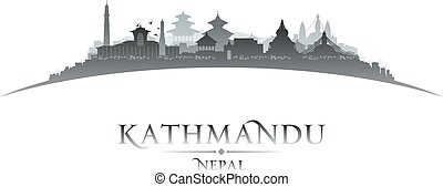 Kathmandu Nepal city skyline silhouette white background - ...