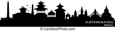 Kathmandu Nepal city skyline vector silhouette - Kathmandu...
