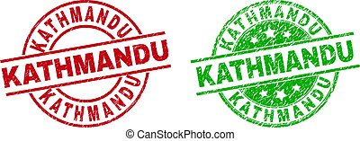 Round KATHMANDU badge stamps. Flat vector grunge stamp watermarks with KATHMANDU message inside circle and lines, using red and green colors. Stamp imprints with unclean texture.