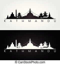 Kathmandu skyline and landmarks silhouette, black and white design, vector illustration.
