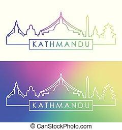 Kathmandu skyline. Colorful linear style.