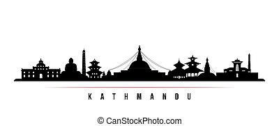 Kathmandu skyline horizontal banner. Black and white silhouette of Kathmandu City, Nepal. Vector template for your design.
