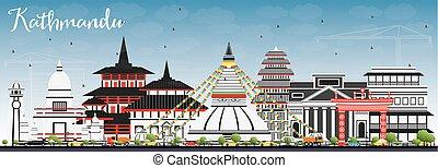 Kathmandu Skyline with Gray Buildings and Blue Sky.