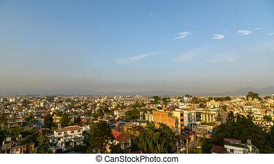 kathmandu, wrakkigheid, tijd, dag, nacht