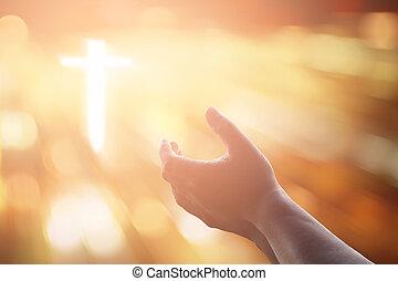 katholiek, concept, christen, worship., god, handen, eucharist, verstand, op, repent, pray., portie, achtergrond., palm, menselijk, geleende, therapie, zegenen, open, pasen
