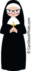 katholiek, non, kruis, bejaarden, traditionele , handen,...