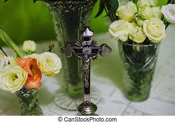 katolik, chrystus, do góry, krzyż, jezus, zamknięcie, dom