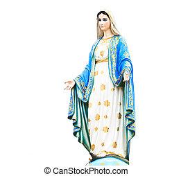 katolik, dziewica, rzymski, statua, kościół, mary