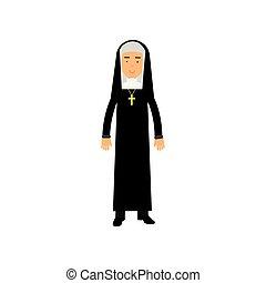 katolikus, apáca, ábra, vallás, vektor, jellegzetes