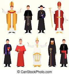 katolikus, különböző, állhatatos, keresztény, vallás, lelkész, vagy, öltözék