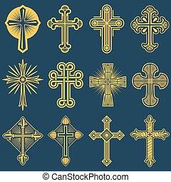 katolikus, katolicizmus, jelkép, ikonok, kereszt, vektor, gót