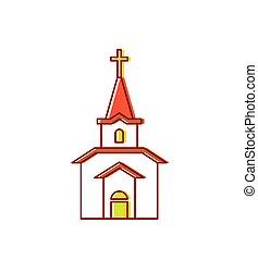 katolikus, keresztény, épület, religion., ábra, aláír, vektor, templom