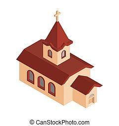 katolikus, keresztény, épület, religion., ábra, vektor, templom, isometrics