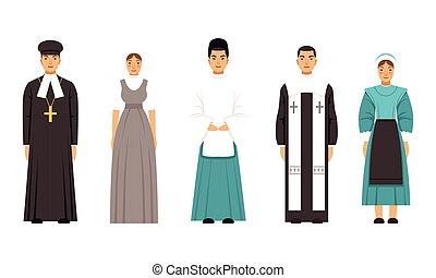 katolikus, lelkész, lelkész, mormon, emberek, vektor, shinto, ábra, öltözék, gyűjtés, mennonite, amich, betűk, vagy, hagyományos, vallás