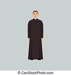 katolikus, lelkész, lelkipásztor, beismerés, ábra, vektor, jellegzetes, vallásos, vagy