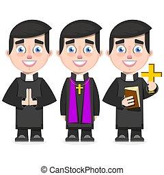 katolikus, mód, állhatatos, lelkész, ábra, vektor, karikatúra