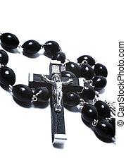 katolikus, rózsafüzér, fából való, fém, fekete, feszület