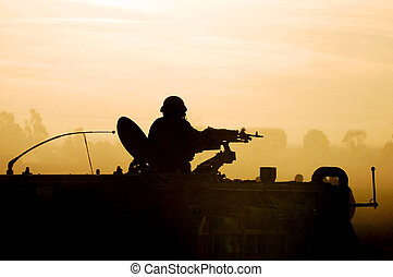 katona, árnykép, napnyugta, hadsereg