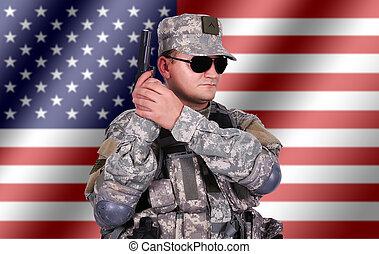 katona, övé, pisztoly
