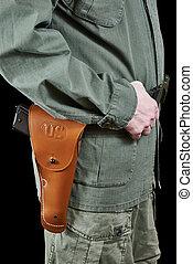 katona, öv, pisztoly pisztolytáska, egyenruha