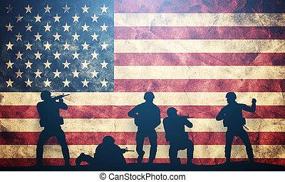 katona, alatt, támadás, képben látható, usa, flag., amerikai, hadsereg, hadi, concept.