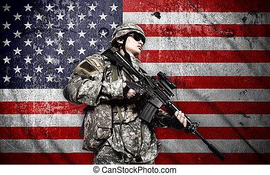 katona, american lobogó, háttér