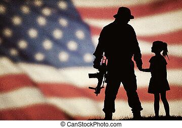 katona, amerikai, árnykép