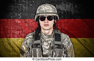 katona, amerikai, germany lobogó