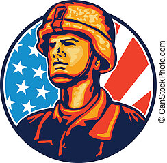 katona, amerikai, retro, lobogó, katona