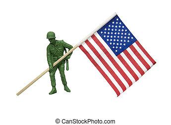 katona, amerikai, szállít lobogó