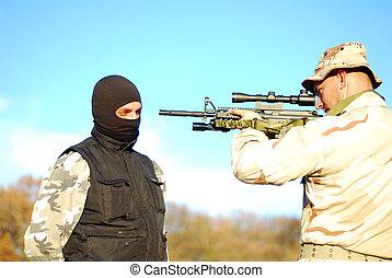 katona, célzás, terrorista