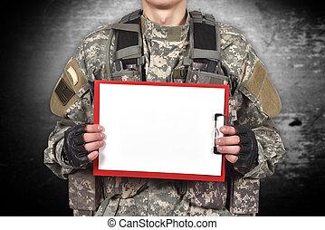 katona, csipeszes írótábla, birtok, tiszta