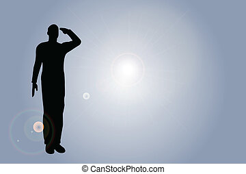 katona, díszlövés, árnykép, hadsereg