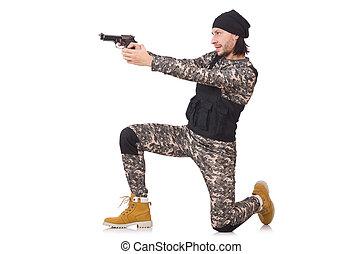 katona, fehér, kézifegyver, elszigetelt, kaukázusi
