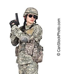katona, fiatal, pisztoly
