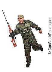 katona, futás, fehér, kézifegyver, elszigetelt