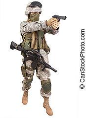 katona, kézifegyver, bennünket
