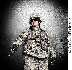 katona, pisztoly, nulla