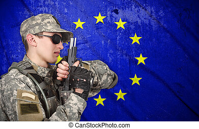 katona, pisztoly, usa