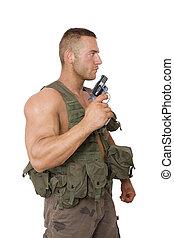 katona, pisztoly, white., elszigetelt