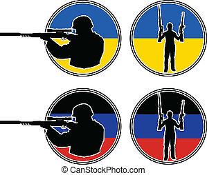 katona, pro-russian, ukrán