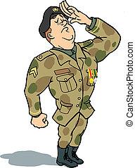 katona, tiszteleg
