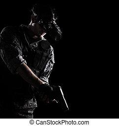 katona, védőszemüveg, látomás, éjszaka